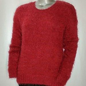 Apt. 9 NWOT Red Fuzzy Long Sleeve Crew Sweater XL